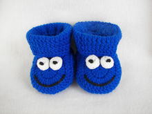 Baby Booties, Cookie Monster, Royal Blue Newborn to 6 Months Crochet 2015 Fashion HandmadeCrochet baby first walk shoes