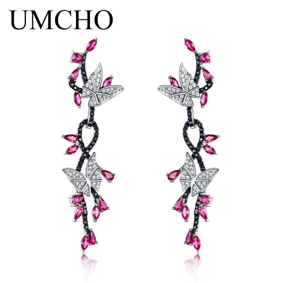 UMCHO 925 Sterling Silver Butterfly Natural Gemstone Black Spinel Ruby Drop Earrings Romantic Earrings For Women Fine Jewelry faux ruby butterfly earrings
