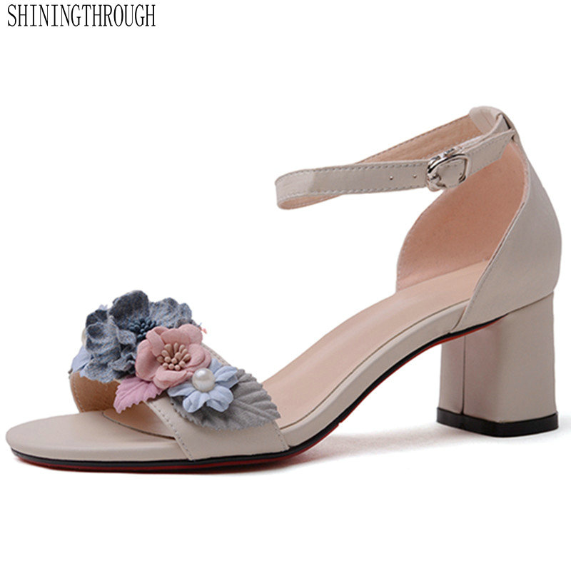 high Heels flower Sandals woman genuine leather woman shoes Summer Office Daily Shoes Woman large size 41 42 43high Heels flower Sandals woman genuine leather woman shoes Summer Office Daily Shoes Woman large size 41 42 43