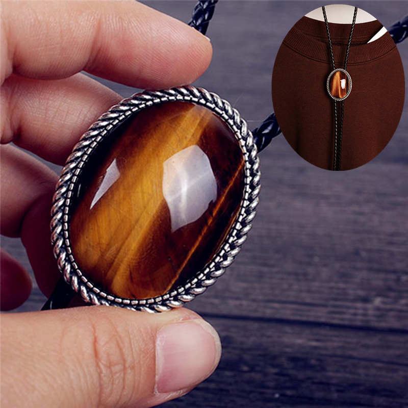 Original Western Cowboy BOLO Tie Clip Mosaic Natural Tiger-eye Stone Leather Rope Mens Fashion Jewelry