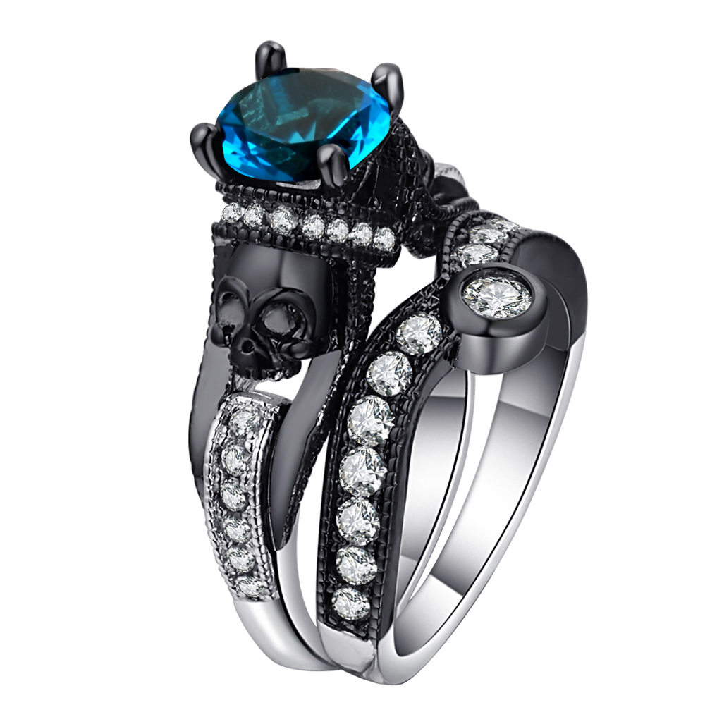 Ufooro cráneo anillo para los hombres y las mujeres estilo Punk del encanto de la joyería de moda negro redondo Cubic Zirconia mal esqueleto anillo conjunto