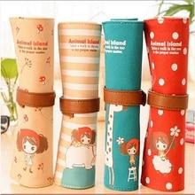 Kawaii Korean Style Curly Hair Girl Large Capacity Roll Pencil Bag Canvas Pencil Case pen Pocket