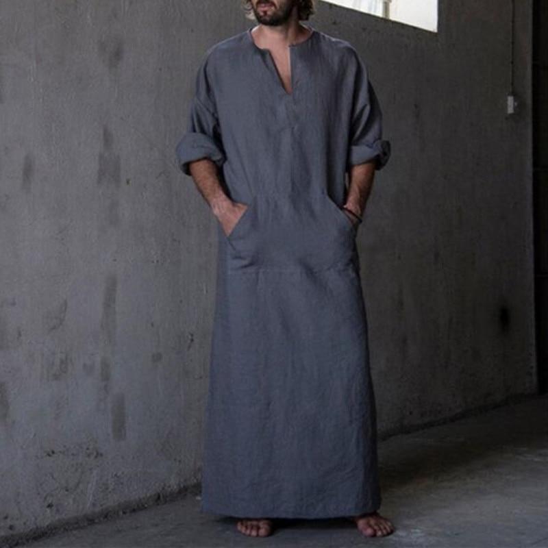 2019 New Men's Shirts Dress Long Sleeve 100%Cotton V-Neck Full Length Islamic Arab Kaftan Ropa Hombre Muslim Eid Costume Robe