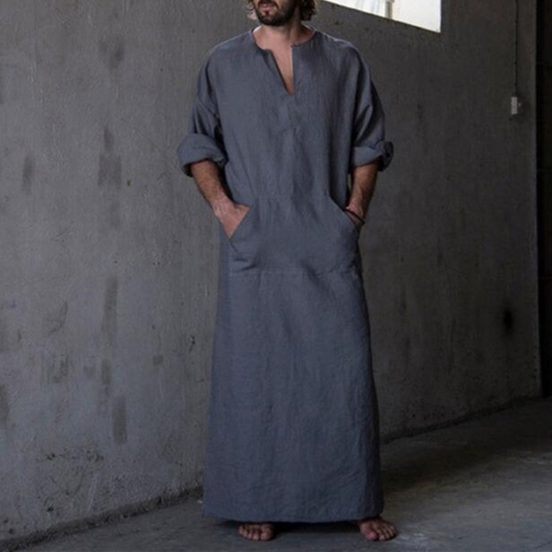 2020 New Men's Shirts Dress Long Sleeve 100%Cotton V-Neck Full Length Islamic Arab Kaftan Ropa Hombre Muslim Eid Costume Robe