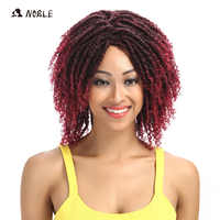 Noble Hair bouncy Curly Short Wigs For Black Women 12 Inch Mixed Color Synthetic Wig Adjustable Free Shipping