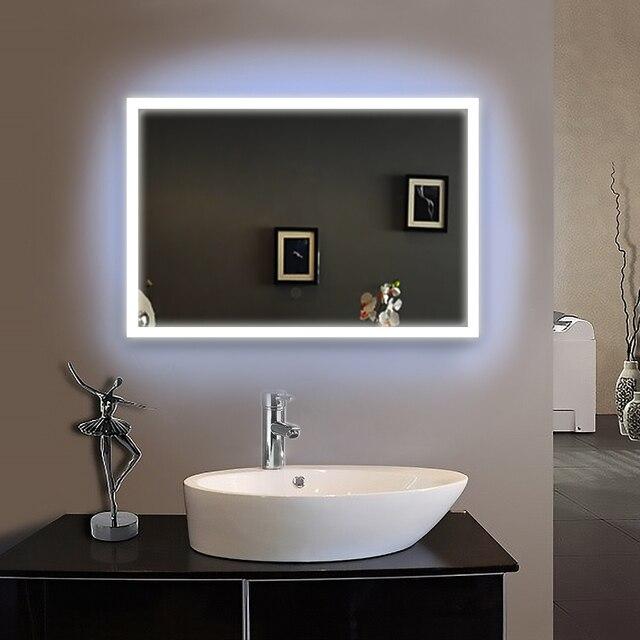 90 240 V 50X70 Cm Bad Spiegel Rahmen Led Beleuchtet Gerahmte Bad Spiegel  Badezimmerspiegel Wand