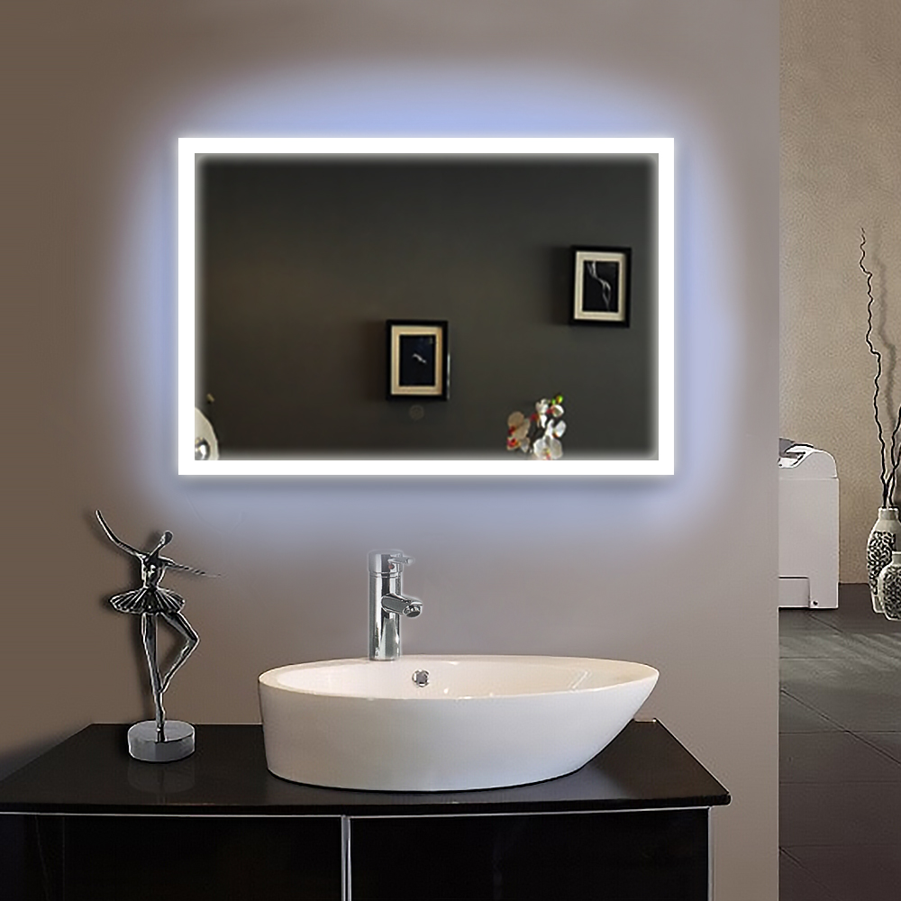 90 240v 50x70cm bath mirror frame led illuminated framed for Miroir 50 x 70 cm