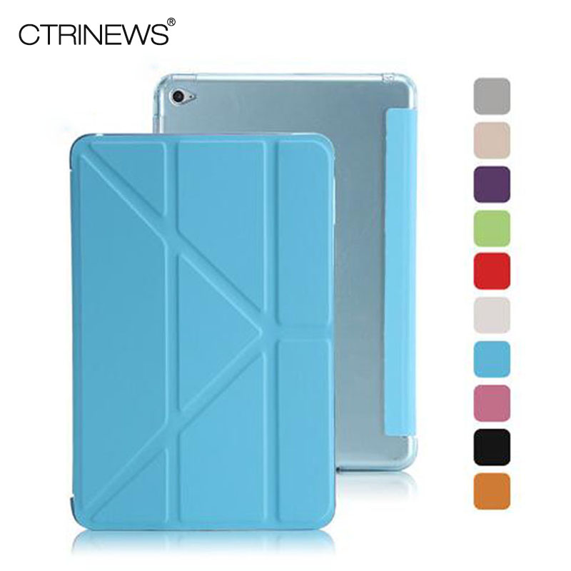 CTRINEWS For iPad mini 4 TPU Back Cover Case for Apple iPad mini 4 Multi Fold Slim PU Leather Smart Cover Case Auto Sleep Wake wholesale price mobile phone anti theft alarm display stand with charging for exhibition