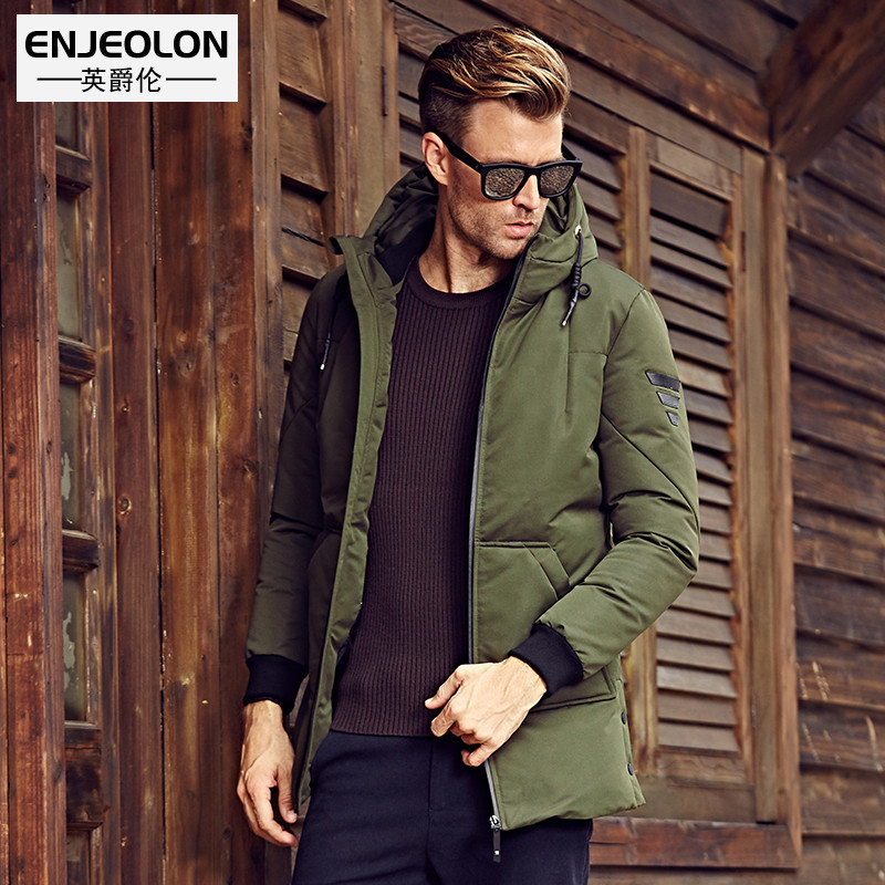 Enjeolon brand long thicken winter down jacket hooded men,White duck down coat male quality men plus size 3XL down parkas YRF903
