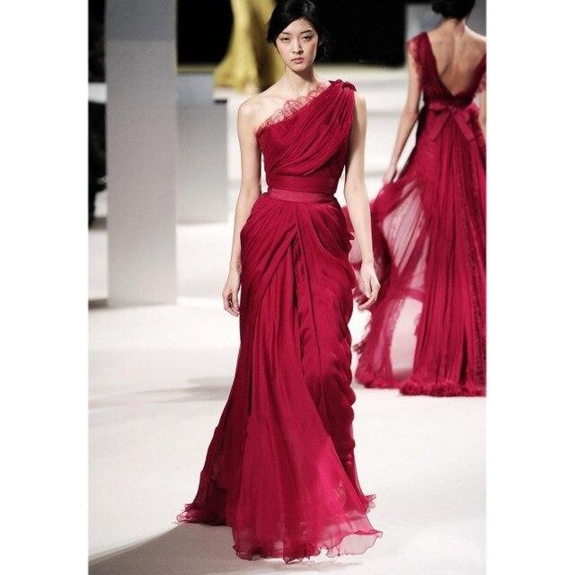 faa5832eb2a28 أحدث تصميم إيلي صعب مساء ثوب واحد الكتف حفلة موسيقية فساتين الشيفون مطوي  فستان أحمر رسمي