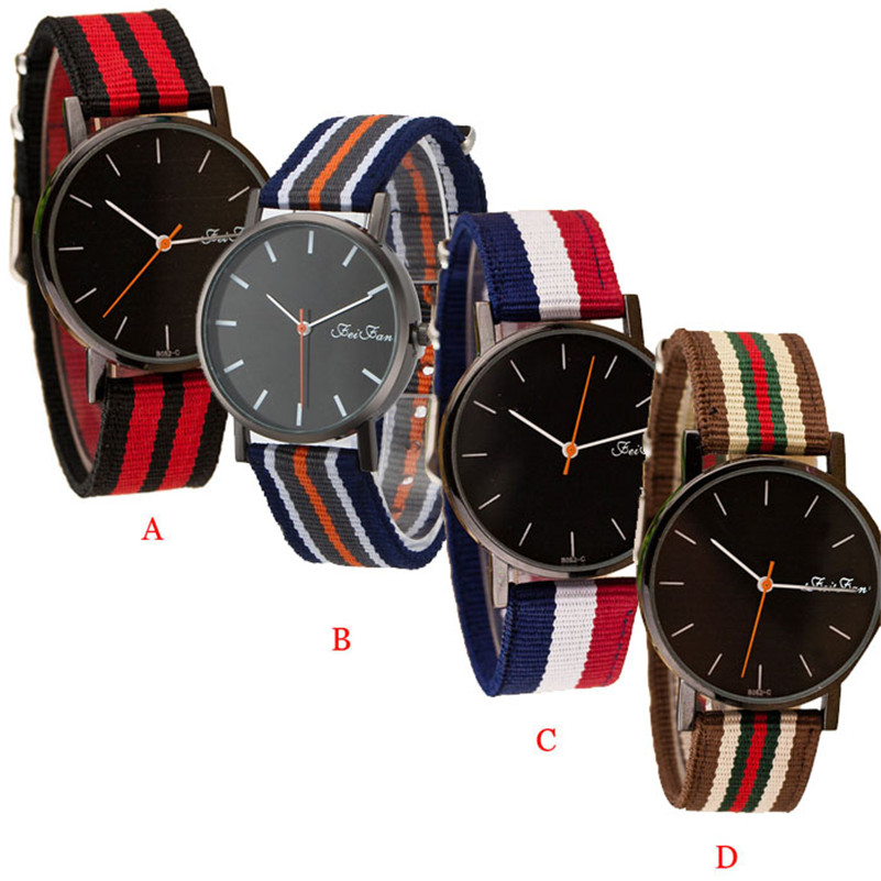 2017 Mens Women Watches Top Brand Luxury Unisex Striped Canvas Band Quartz Wrist Watch Business Relogio Masculino Feminino Saat  brand new women watches luxury design quartz watch women unisex mens leather business wrist watches relogio feminino reloj jo
