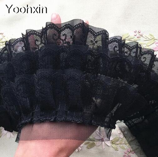 11CM Wide Luxury Embroidery White black flower lace fabric trim ribbon DIY  sewing applique collar dubai voile wedding supplies