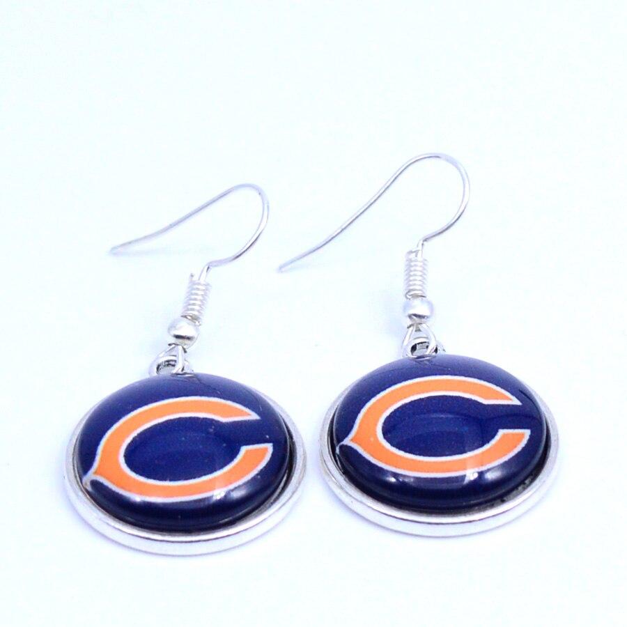 Серьги Chicago Bears Талисманы Длинные висячие серьги Спорт Серьги Футбол украшения для Для женщин День рождения подарок 5 пар