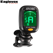 Clip-on Guitar Tuner Small Size for Chromatic Guitar Bass Violin Ukulele 160 Degree Rotatable Accurate Tuning Aroma AT-101