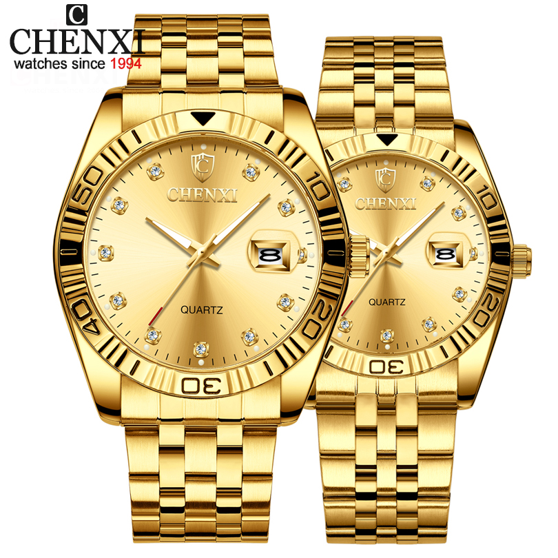 2019 New Couple Watches Golden Stainless Steel Brand Luxury Quartz Watch Men Clock Watches Ladies Wristwatches Relogios Casal(China)