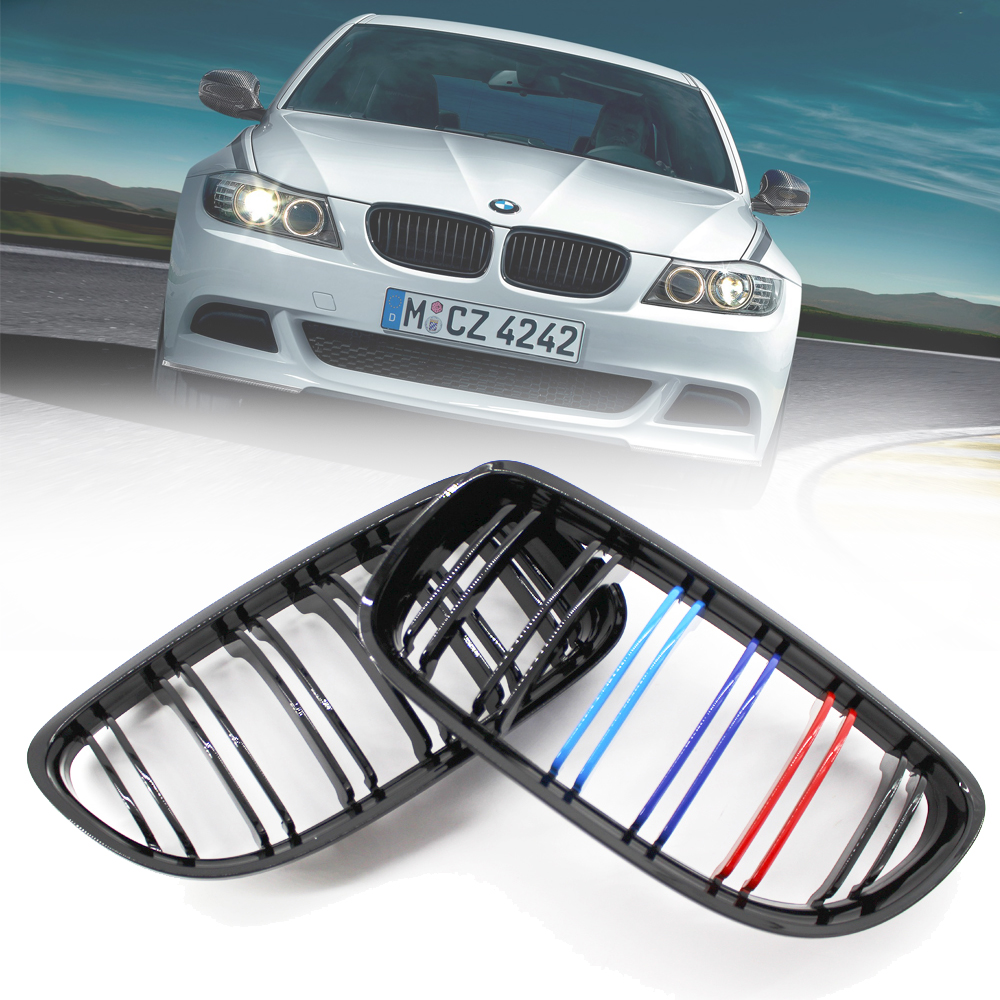 Details about  Gloss Black M color Front Kidney Grilles Double Line For BMW E90 E91 3 Series 318i 320i 325i 330i 2009-2011