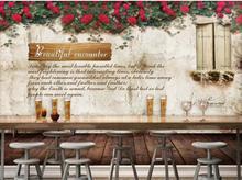Custom Any Size Mural Wallpaper European and American vintage wall flower bar coffee shop background wall european leisure bar wallpaper vintage food restaurant pvc waterproof background milk tea shop coffee cafe shop wallpaper
