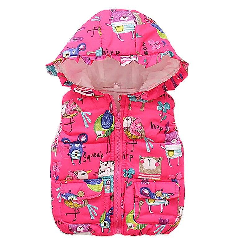 Girls vest Kids Hooded Graffiti vest Children's Down Jacket Winter Warm Vest Baby Girl Jacket Boy Sweet Waistcoat Outerwear 0-5T цена 2017