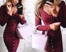 Autumn Dress Knitted Dresses V Neck Knee-Length buttons Long Sleeve Long Dresses Slim Winter Office Dress Robes Vestidos