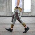 Tendencia de La Moda Vintage Patch Mens Casual Pantalón Elástico de La Cintura de La Calle Hiphop Ocio Mendigos Pantalones Flojos Masculinos Harem Pant