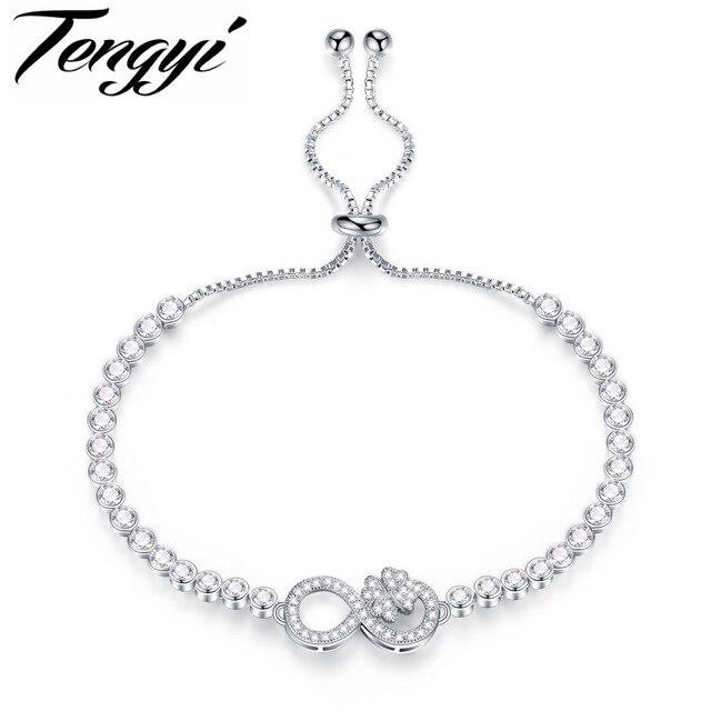 4bf6b11a959a Tengyi Tenis pulsera para las mujeres plata color piedra infinito Clover  cúbicos zirconia joyería para el