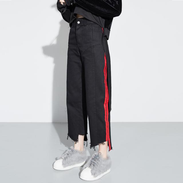 [Soonyour] 2017 nova cor hit da primavera vermelho preto de cintura alta calças largas nas pernas das mulheres calças de brim maré de moda de todos os jogo J06201M