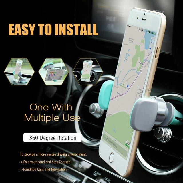 CASEIER Car Phone Holder For Mobile Phone Universal Air Vent + Dashboard Windshield 2 in 1 Car Holders Stand telefon tutucu 4