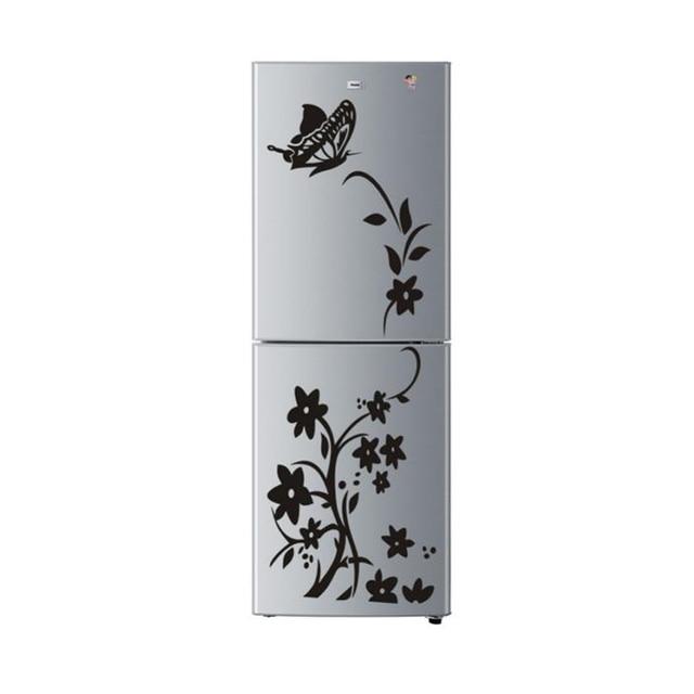 1 Pcs Butterfly Flower Shape Wall Stickers Diy Decals Art Mural Wallpaper Black Sticker For Home Refrigerator Decorations