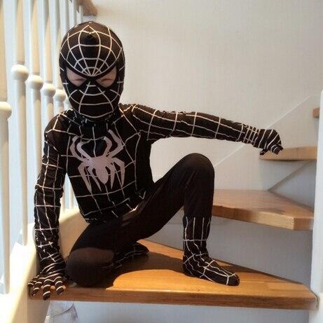 Fantasia Halloween Lycra Spandex Zentai <font><b>Spiderman</b></font> Child <font><b>Costume</b></font> <font><b>Men</b></font> Boy Black <font><b>Spiderman</b></font> <font><b>Costume</b></font> For Kids