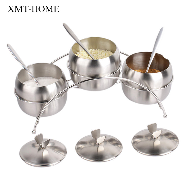 Stainless Steel Seasoning Canister Spice Jar Pot Salt Sugar Bowl With Lid Spoon