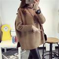 Fashion Mohair Side Slits Split Medium Long Mock Neck Loose Casual Knitted Drop Shoulder Female Lady Women Pullover Sweater Coat