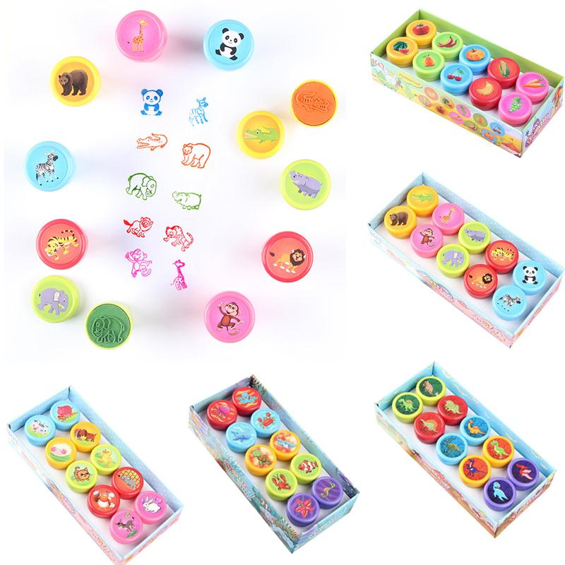 10pcs Kids Cartoon Stamp Children Custom Plastic Rubber Self Inking Stampers Toys Learning Educational Toys For Children