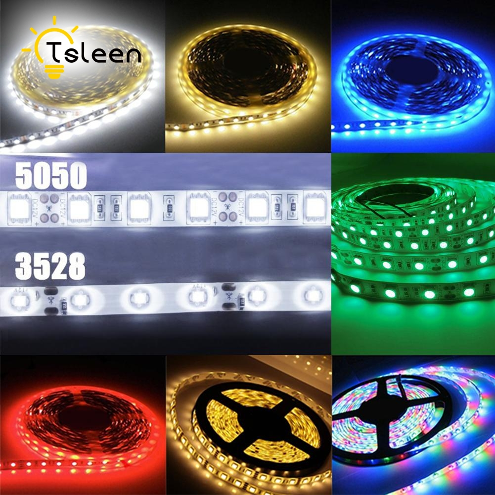 TSLEEN + Billiga + DC12V Vattentät LED Strip RGB 5050 3528 Led Light - LED-belysning