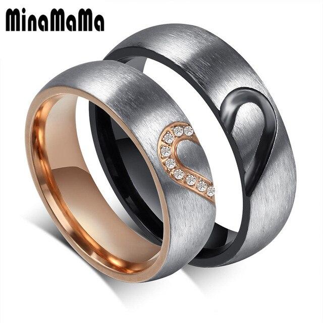 29897987f3 New Lovers Matching Heart Stainless Steel Wedding Rings For Men Women Promise  Rings