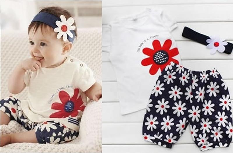 64a8f004f Cute 3pcs Baby Girl Kid T Shirt Headband Top Pants Shorts Flower ...