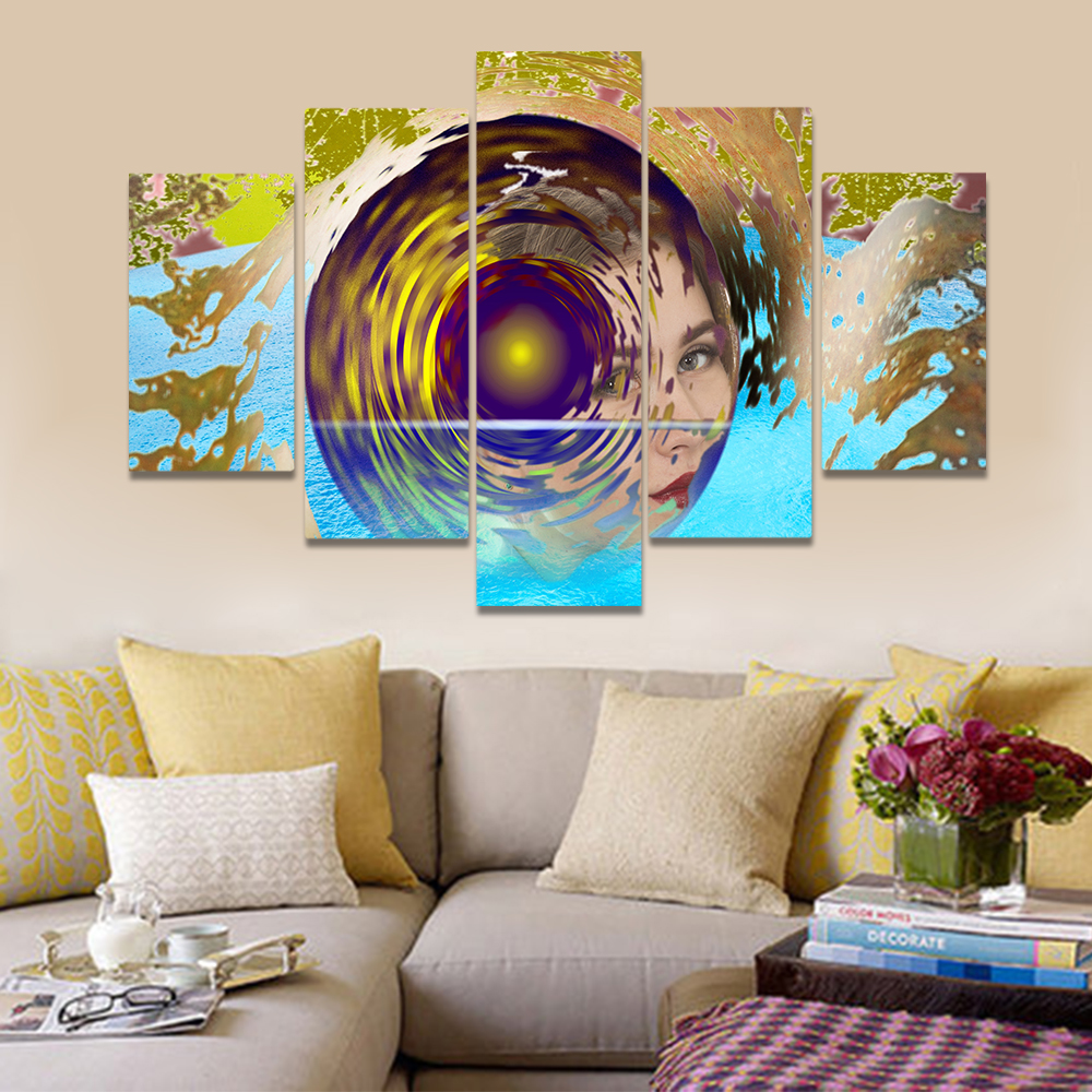 Unframed Canvas Painting Rotating Picture Cracked Girl Portrait Prints Wall Picture For Living Room Wall Art Decoration