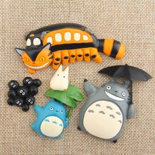 Cartoon Cute Gili Cat Briquettes Chirp Station Green Leaf On Blue Totoro Umbrella Bus Fridge Magnet Home Decor Gift