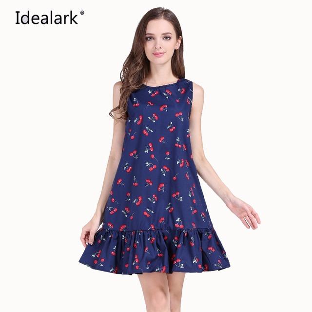 Idealark 100% cotton Sleeveless Sexy Ruffles Women Dress Summer Casual A Line Party beach dress Vestidos WC0589