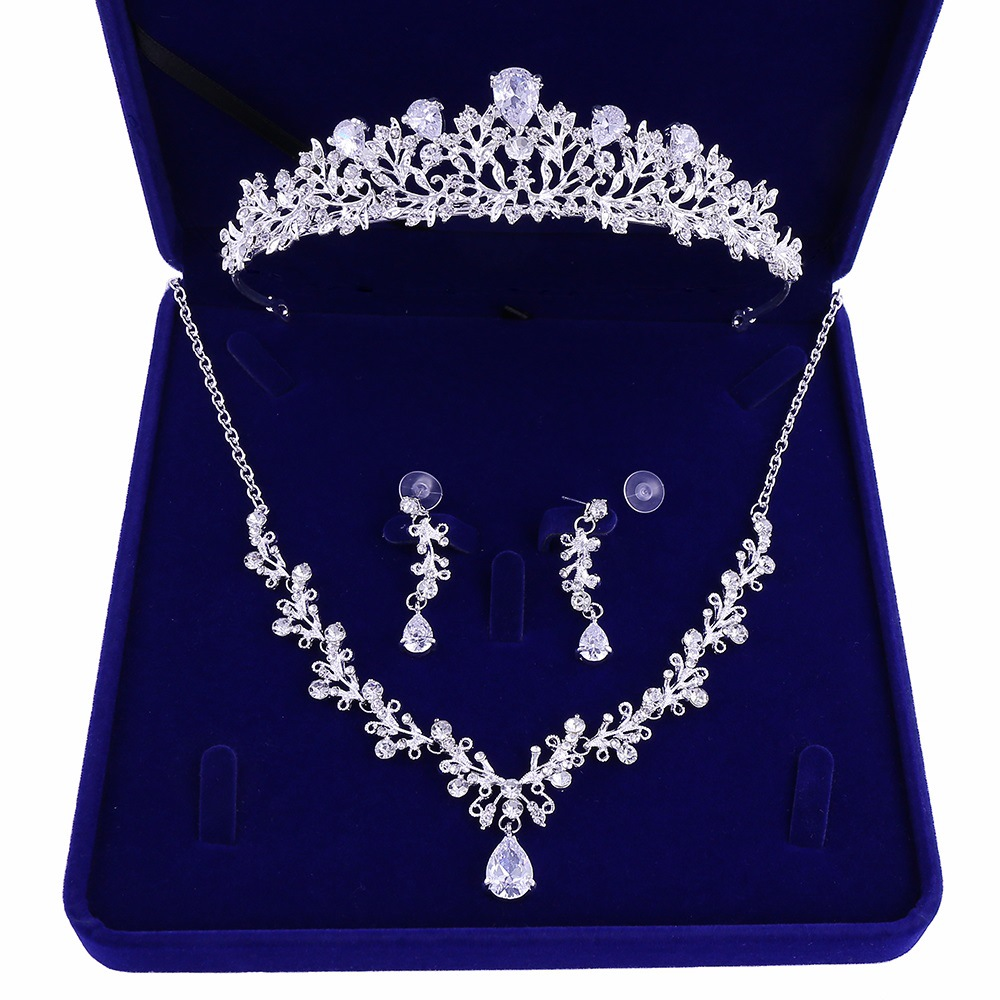 2 - Luxe Noble Feuille De Cristal, Bijoux De Mariée Strass Couronne Diadèmes Collier Boucles D'oreilles, Perles Africaines,