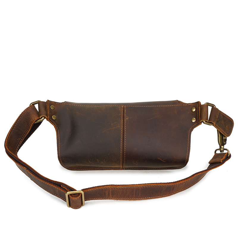 Vintage Genuine Leather Waist Bag Belt Bum Pack Fanny Travel Pack Phoen Pouch For Men Male YD8169 brand logo new multifunctional genuine leather waist pack for men women bags travel belt bag money pouch