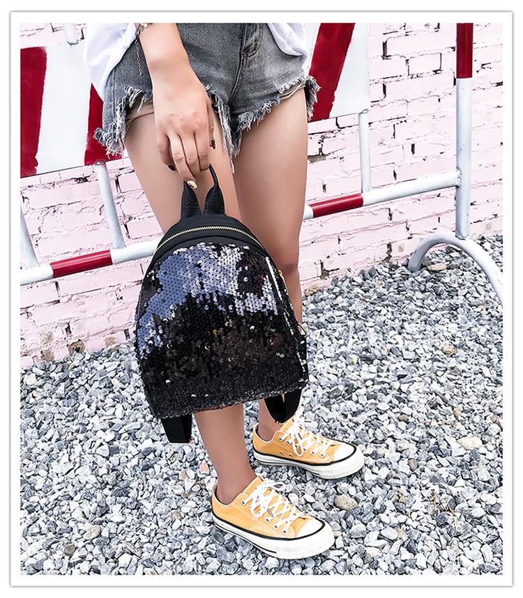 Backpacks women Korean mini 2018 new sequined shell fashion trend women go with small backpacks travel backpack 81
