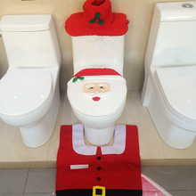1 Set 3pcs Fancy Happy Santa Toilet Seat Cover Rug Bathroom Christmas Decoration