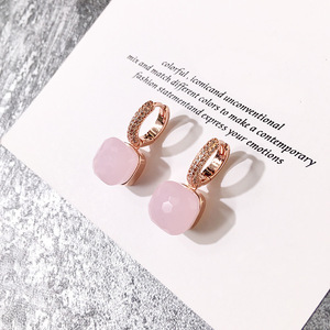 Image 4 - Fashion Women Multicolor Faceted Crystal Candy Square Earrings Silver Color Rose Gold Color Zircon Stones Water Drop Earrings