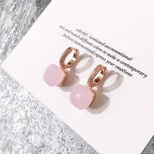 Image 4 - Moda damska Multicolor Faceted Crystal Candy kwadratowe kolczyki srebrny kolor różany złota cyrkonia kamienie kropla wody kolczyki