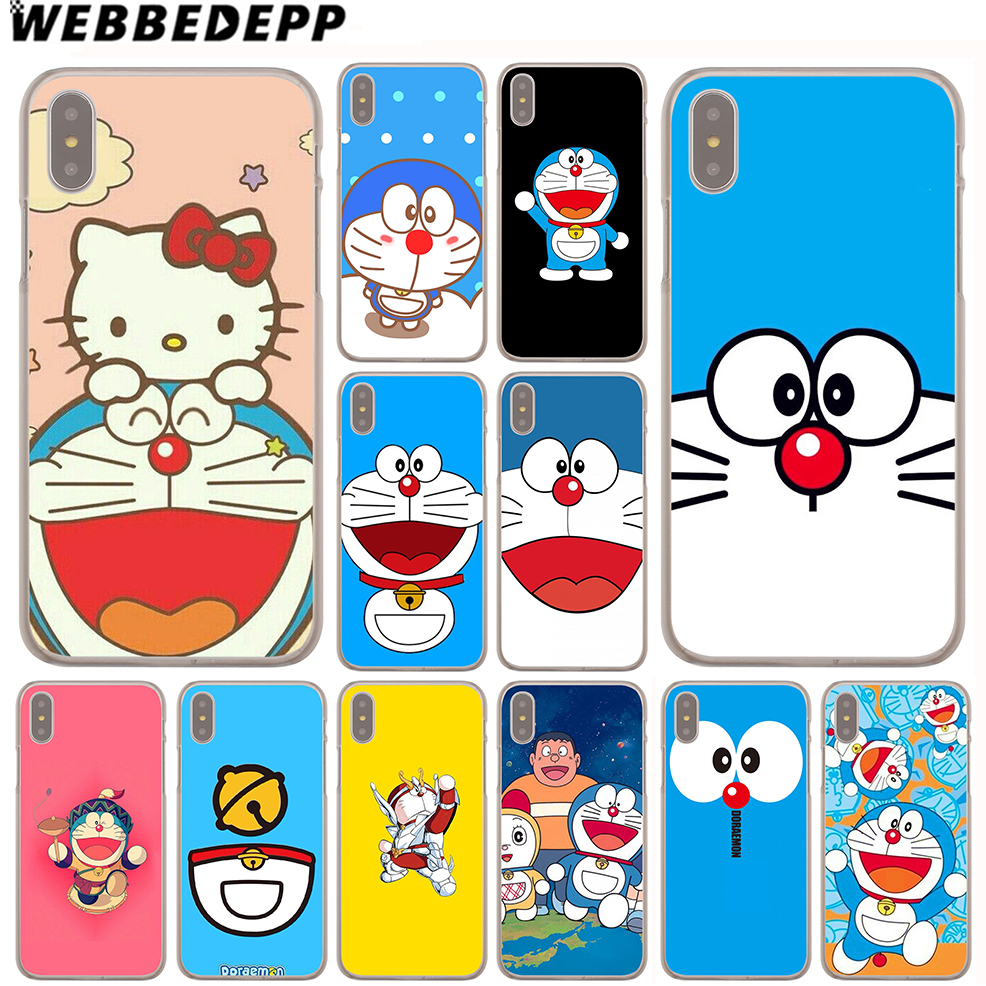 WEBBEDEPP Doraemon Cartoon Case for iPhone X or 10 8 7 6 6S Plus 5 5S SE 5C 4 4S