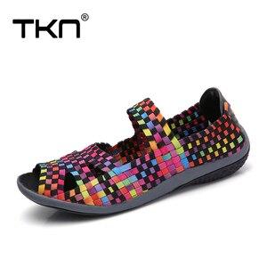 Image 2 - TKN 2019 Summer Women Flats Sandals Shoes Women Woven Flat Shoes Ladies Multi Colors Slip On ladies Sandals female loafers 812