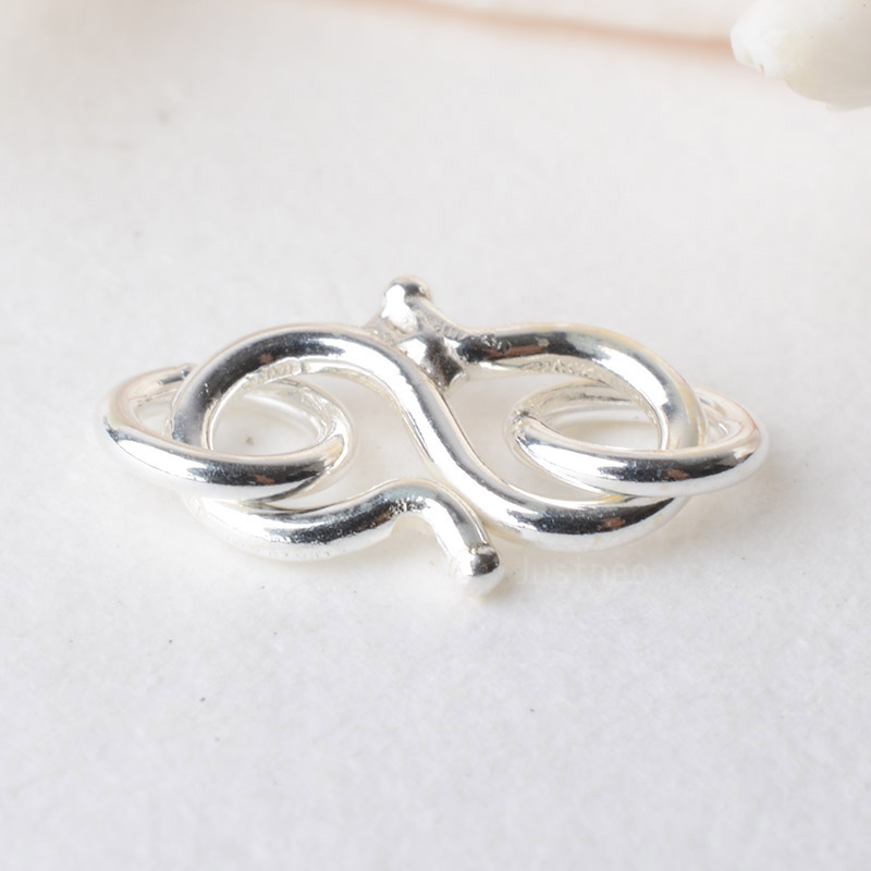 Solid 925 Sterling Silver S-shaped Clasp Hook With Closed Jump Ring, For Necklace / Bracelet Jewelry Diy Components