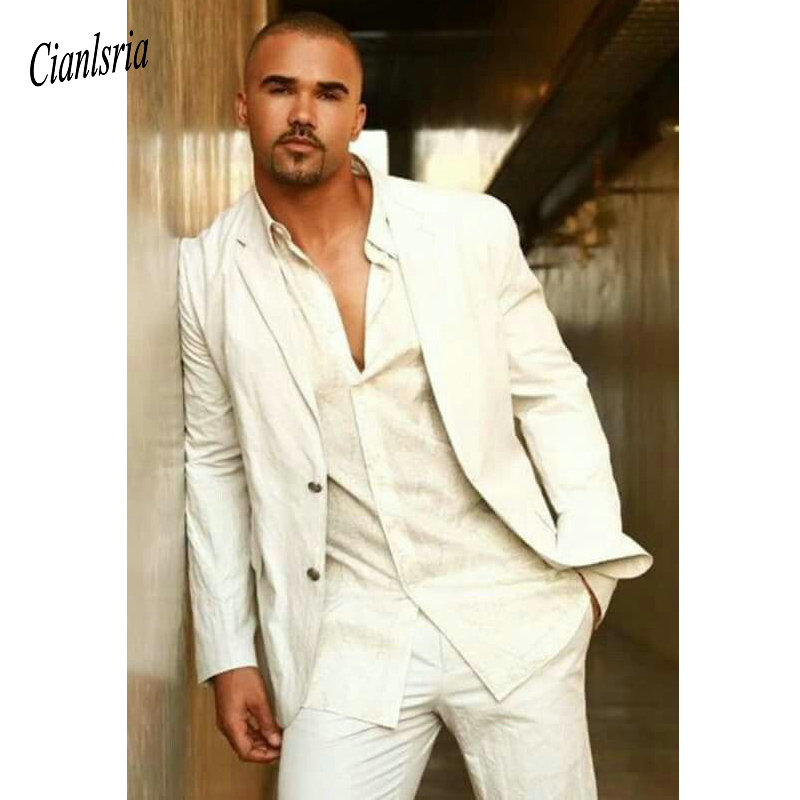 Linen Ivory Summer Wedding Suits For Men Classic Beach Suit Casual Jacket Pants Tailor Made Prom Men's Dress