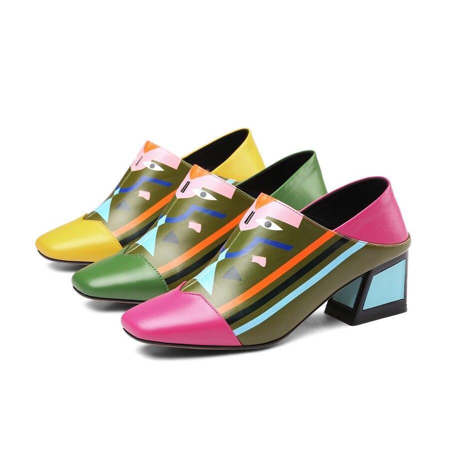 Slip green Bombas rose Cuadrado Tobillo De Primavera Nueva En Alta Retro Pie Cuero Femenino Yellow Zapatos Dedo Del Verano Genuino Tacón Señoras Tacones w1wB8qOX