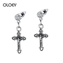OLOEY New Fashion Titanium Steel Earrings Retro Punk Mens Earring Jewelry Male Exaggerated Jesus Cross For Boyfriends
